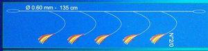 Leaders Flashmer 3 Mitraillettes morues, lieus (plumes jaunes et rouges), (2x5 et 1x3 (N°2)).
