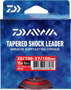 Leaders Daiwa ARRACHÉ SURF TAPER LEADER 15M X 5 0,16 / 0,57 ROUGE 15M