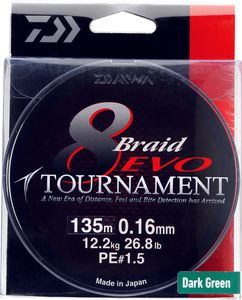 Lines Daiwa TOURNAMENT 8 BRAID EVO 16/100 300 M VERT